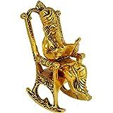 Brass Lord Ganesha Reading Ramayana Statue Hindu God Ganesh Ganpati Sitting on Chair Idol Sculpture Home Office Gifts Decor