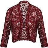 Concep Women's Crochet Lace Shrug 3 4 Sleeve Bolero Open Front Cardigan (S-XXL)