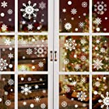 heekpek 358 PCS Christmas Santa Claus Window Cling Stickers for Glass Xmas Decals Reusable Decorations Holiday Snowflake Rein