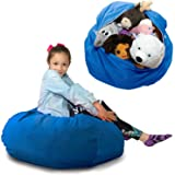"""Large Stuffed Animal Storage Bean Bag""""Soft 'n Snuggly"""" Corduroy Fabric Kids Prefer Over Canvas - Replace Mesh Toy Hammock or"""