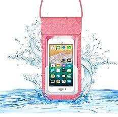 【CASEKOO】最新版 防水ケース スマホ用 IPX8認定 新しいデザイン 防水に強い 入れたままタッチ可能 iPhone X / iPhone8 plus/iPhone 7plus / Phone6 6s Plus Android 6インチ以下全機種対応 ネックストラップ付属 小物収納 潜水 プール 水泳 海水浴など適用 ピンク