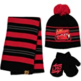 Disney Cars Lightning McQueen Scarf, Hat and Gloves Set for Toddler and Little Boys