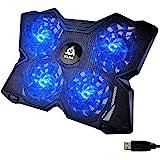 KLIM Wind ノートパソコンクーラー ファン4つ搭載 毎分1200回転 USB給電 11~19インチ対応 ブルー