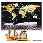 Rabbitgoo Scratch Off World Map Poster with Country and Region Flags, World Travel Tracker Map Wall Map Decoration Gift...