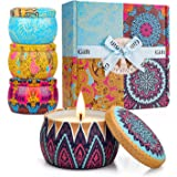 Y YUEGANG Scented Candles Gift Sets, Natural Soy Wax 4.4 Oz Unit Portable Travel Tin Perfect for Women Aromatherapy Anniversa
