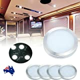 WOWLED 12V LED Downlight, LED Recessed Cabinet Lights, LED RV Ceiling Light 4 Pack, Boat Ceiling Light, 12V 3W White LED Inte