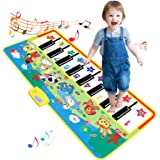 SANMERSEN ピアノマット 8曲デモ 16鍵盤 8種類動物音 ミュージック マット 鍵盤 大型 ミュージックマット スピーカー搭載 再生機能 デモモード 知育玩具 サイズ 53.1 x 22.8インチ(135 x 58 cm)