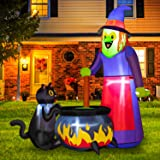 Rocinha 5.9 FT Halloween Inflatables Witch with Witch's Cat Cauldron Halloween Blow up Yard Decorations Build-in LEDs Inflata