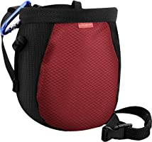 Rhino Valley Chalk Bag,No Leak Rock Climbing Strawstring Bag Drawstring Magnesia Sack with Adjustable Belt Carabiner for...