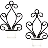 Hosley Set of Two, Iron Wall Sconce, Tea Light Candle Sconces, 20cm High. Ideal Gift for Spa, Aromatherapy, wedding, LED Voti