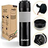 Portable French Press Coffee Maker - Vacuum Insulated Travel Mug - Hot and Cold Tea and Coffee (12 oz) - Great for Commuter -