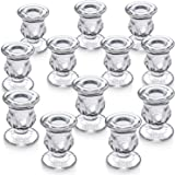 """Letine Candlestick Holders Set of 12-2.5"""" H Taper Candle Holders Bulk - Clear Glass Candle Holder for Windowsill, Wedding & F"""