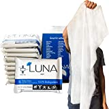 Luna Biodegradable Towel Size Body Cleaning Wipes - Individually Wrapped 10 Pack | Extra Large Unscented Wet Wipe for No Rins