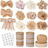 Whaline Burlap Lace Flowers with Pearl for Handmade Craft Making Wedding and Party Decoration Style 4