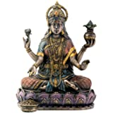 Summit Collection SS-Y-7854 Bronze Hindu Goddess Lakshmi On Lotus Hinduism Display Statue