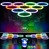 GLOWPONG All Mixed Up Glow-in-The-Dark Beer Pong Game Set for Indoor Outdoor Nighttime Competitive Fun, 24 Multi-Color Glowin