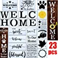 23pcs Welcome Stencil for Painting on Wood,Home Sign Stencils Reusable Porch Sign and Front Door Vertical Welcome Comes with