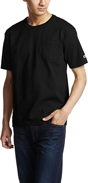 [チャンピオン] T1011 半袖Tシャツ ポケット付き ワンポイントロゴ C5-B303 メンズ ブラック 日本 S (日本サイズS相当)