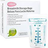 60 Breast Milk Storage Bags - Self Standing, Freezer Safe, Leak Proof Zip Top Closure, Pre Sterilized, BPA Free, Marked Measu