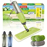 MistDriver Floor Cleaning Spray Mop with 4 Extra Large Microfiber Pads and 2 High Capacity Bottles, Home or Commercial Use, P