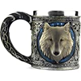 Smart Living Company Ezeso Resin 3D Wolf Coffee Cup Stainless Steel Travel Tea Wine Beer Mugs