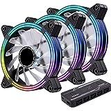 EZDIY-FAB 3-Pack 120mm Dual Frame RGB PWM Fans for PC Case,Addressable RGB Case Fan with Fan Hubs,5V ARGB 3-pin Motherboard S