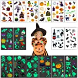 Halloween Tattoos for Kids, 160 pcs Halloween Temporary Tattoos including 70 Glow in the Night or Dark Halloween Trick or Tre