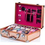 Mixed Beauty Makeup Kits Cosmetic Case Set Eyeshadow Palette Blushes Lip Makeup Jewellery Box MU17 (Gold)