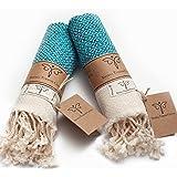 Smyrna Original Turkish Hand Towels Set of 2   100% Cotton, 16 x 40 Inches   Decorative Bathroom Peshtemal Towel for Hand, Fa