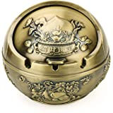 Vintage Decorative Windproof Ashtray with Lid for Cigarettes Metal Portable Cigar Ashtray Odor Eliminator Indoor Outdoor Hand