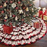 partyclub Farmhouse Ruffle Christmas Tree Skirt 48 Inches, 6-Layer Red and Black Buffalo Plaid Burlap Tree Skirt for Rustic H