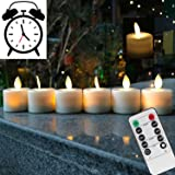 Remote Control LED Tea Light Fake Flameless Candles with Timer,Battery Operated Warm White Window Pillar Candle Bluk with Dan
