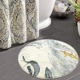 HAOCOO Round Bathroom Rugs 2ft Beige Marble Velvet Bath Mat Non-Slip Door Carpet Soft Luxury Microfiber Machine-Washable Floo