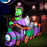 Holidayana 10 ft Graveyard Train Airblown Halloween Lawn Inflatables, Giant Spooky Weather Resistant Inflatable Decor with LE