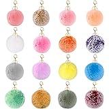 16pcs Pom Pom Keychain Fur Ball Keychain Pom Poms for Crafts Shoes Girls Bag Art