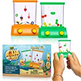 Handheld Water Game by Yoya Toys: A 2 Pack Set of A Fish Ring Toss and A Basketball Aqua Arcade Toy in 2 Different Colors ? C