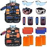 MIBOTE [2 Packs] Kids Tactical Vest Kit for Nerf Guns N-Strike Elite Series Gun Wars with Refill Darts, Reload Clips, Dart Po