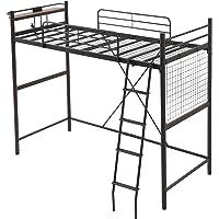 モダンデコ ロフトベッド 2段ベッド はしごタイプ ベッド Linie (ブラック セミダブル)