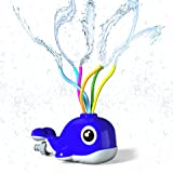 Kiztoys Sprinkler for Kids Outdoor Toy Water Sprinkler Whale Water Toy of Backyard with Wiggle Tubes Spray Splashing Fun for