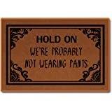 """Hold On We're Probably Not Wearing Pants Doormat Non-Woven Fabric Home Decor Indoor Mats for Entry Floor Mats 23.6""""(L) x 15.7"""