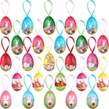 25 Pieces Paper Mache Egg Hanging Ornaments Easter Decoration, Foam Easter Bunny Hen and Egg Ornaments for Party Garden Home
