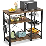 Ecoprsio Kitchen Baker's Rack, Utility Microwave Stands Storage for Spice, 4-Tier+3-Tier Coffee Bar Cabinet with Wine Glass H