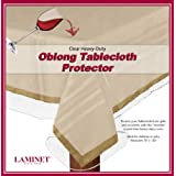 "LAMINET Heavy-Duty Deluxe Crystal Clear Vinyl Tablecloth Protector 70"" x 120"" - Oblong"
