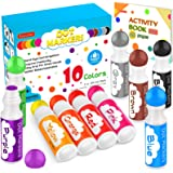 Dot Markers, 10 Colors Washable Dot Markers for Toddlers Kids Preschool Children Arts and Crafts Supply with Tearable 48 Page