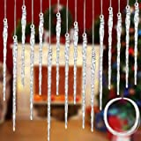 Clear Glass Icicle Christmas Tree Ornament 3.5 - 5.5 inch Twisted Clear Glass Icicle Drop Ornament with 36 Feet Crystal Roll