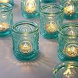 TripodBird 12 PCS Vintage Candle Holders - Glass Candle Holder- Turquoise tealight Candle Holders, Votive Candle Holders Bulk