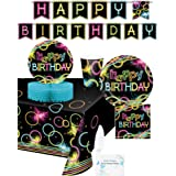 Glow Party Supplies - Plates, Cups, Napkins, Banner, Tablecloth and Centerpiece for 16 People - Neon Party Supplies and Decor