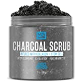 M3 Naturals Activated Charcoal Scrub Infused with Collagen and Stem Cell - Natural Exfoliating Body and Face Polish for Acne,