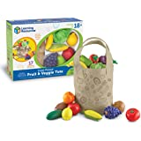 Learning Resources Fresh Picked Fruit & Veggie Tote, Pretend Play Food Set, 16 Piece, Easter Basket Stuffers, Ages 2+