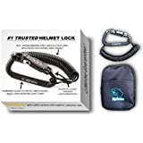 Motorcycle Helmet Lock & Cable. Sleek Black Tough Combination PIN Locking Carabiner Device Secures Your Motorbike Bicycle Or